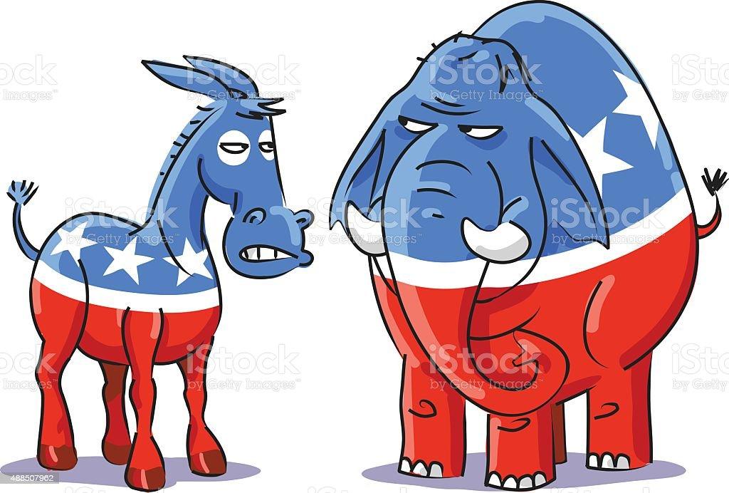 Democratic Donkey Vs Republican Elephant vector art illustration