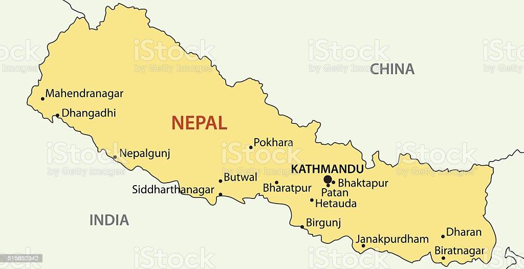 Democratic Republic of Nepal - vector map vector art illustration