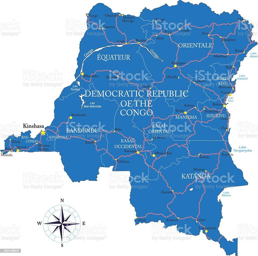 Democratic Republic of the Congo (former Zaire) map vector art illustration