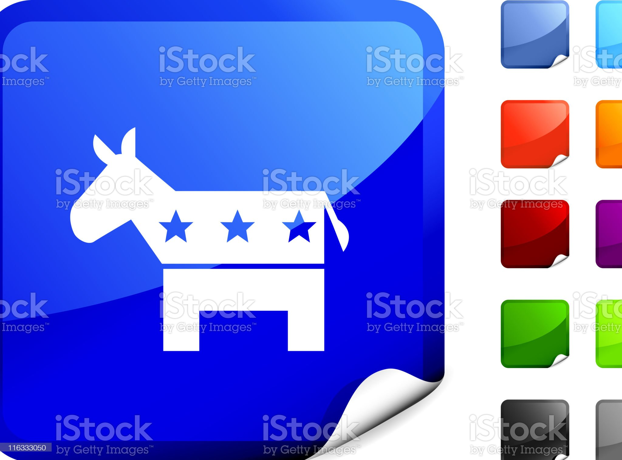Democtratic Donkey royalty free vector art on Blue Sticker royalty-free stock vector art