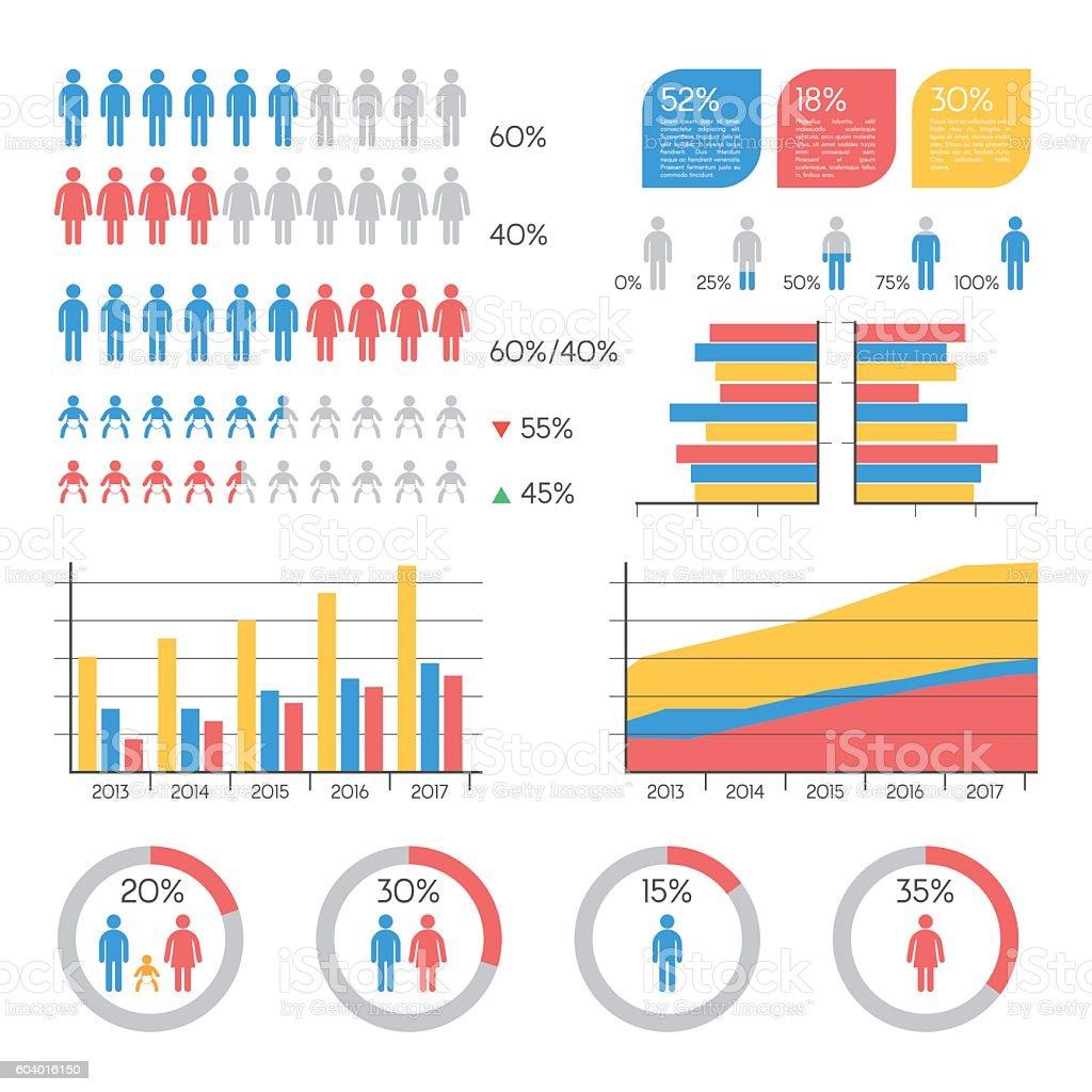 Demographics infographic elements vector art illustration