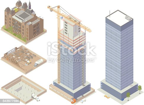Isometric buildings under demolition and construction