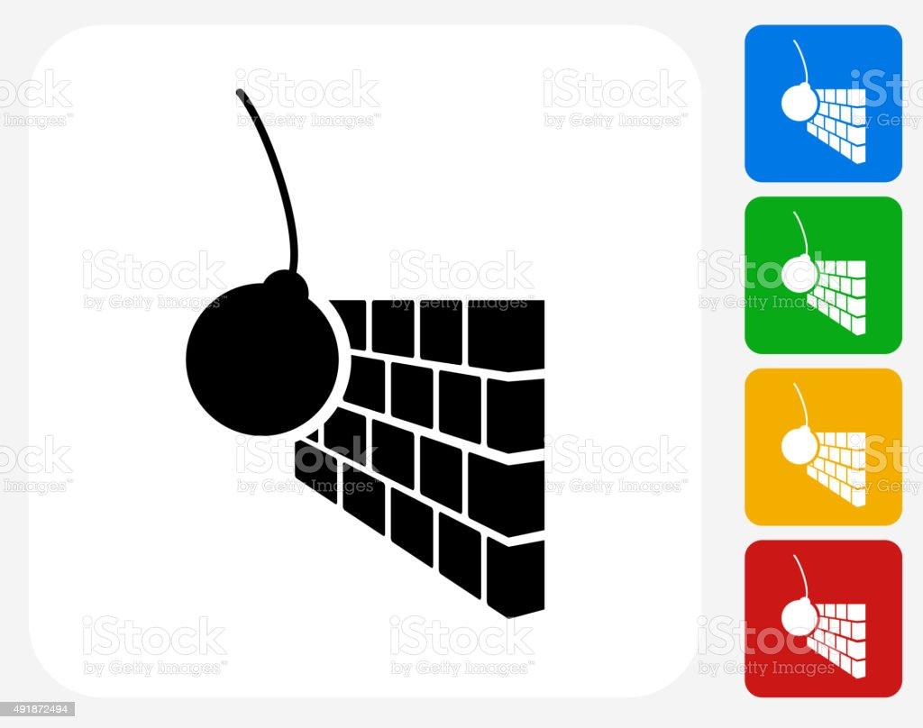 Demolition Icon Flat Graphic Design vector art illustration