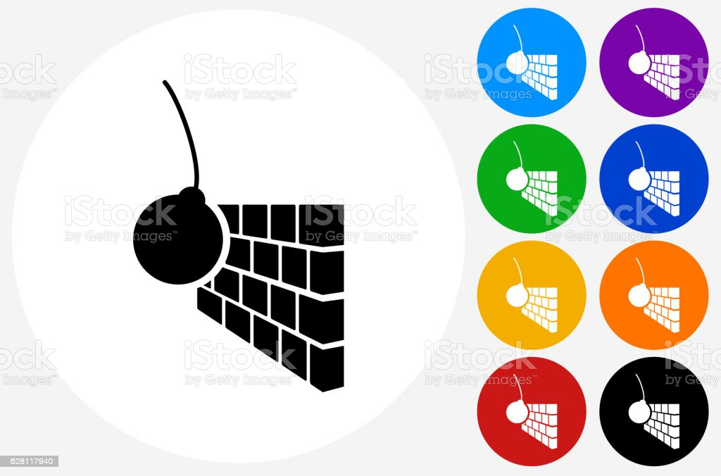 Demolition Icon on Flat Color Circle Buttons vector art illustration