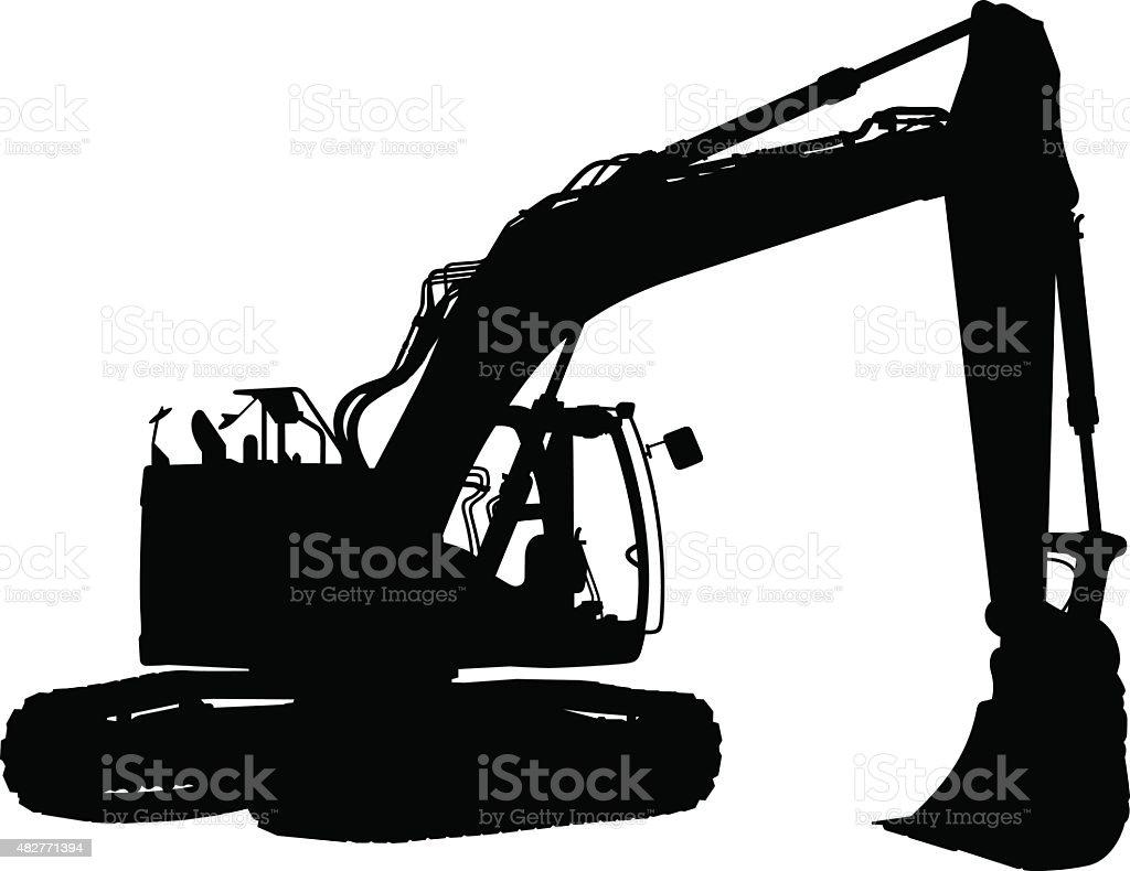 Demolition Tractor Silhouette vector art illustration