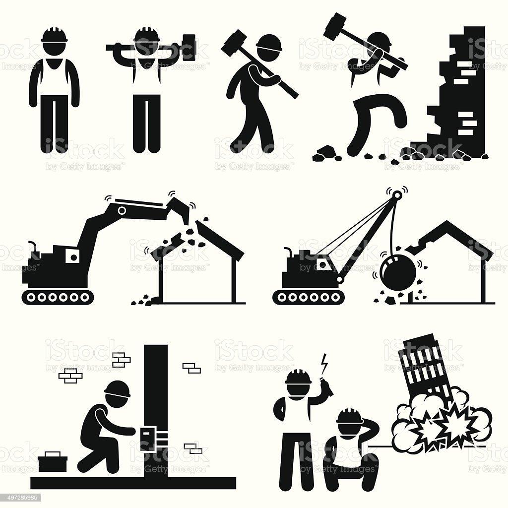Demolition Worker Demolish Building Pictogram Icon Cliparts vector art illustration