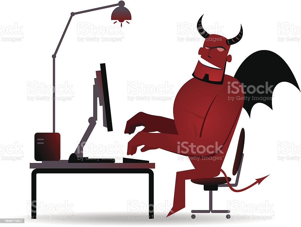 Demon sneering and working in front of a computer vector art illustration