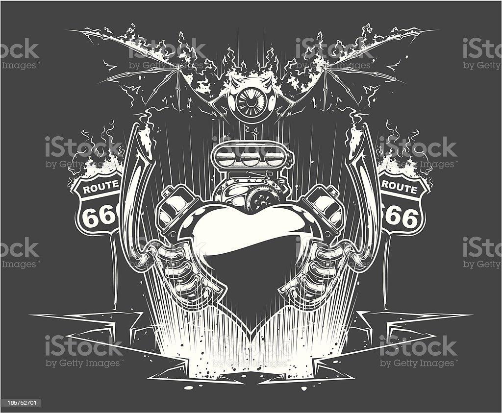demonic motorheart vector art illustration