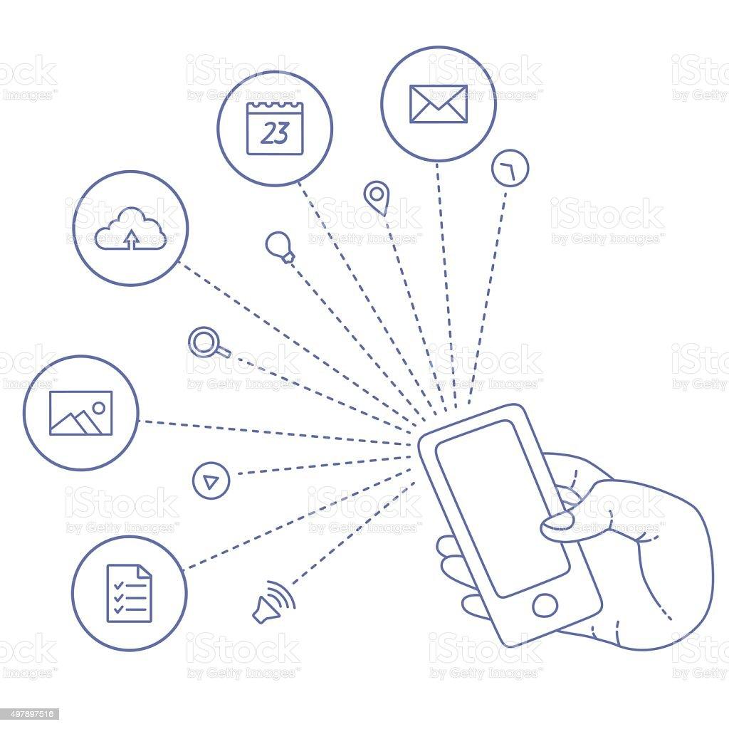 Démonstration Affichage d'un téléphone mobile stock vecteur libres de droits libre de droits