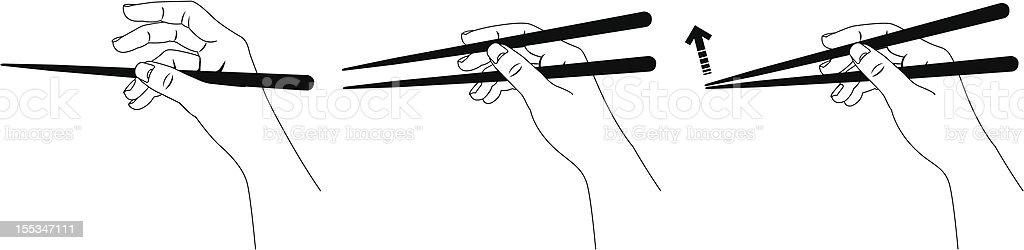 Demonstration of how to use chopsticks vector art illustration