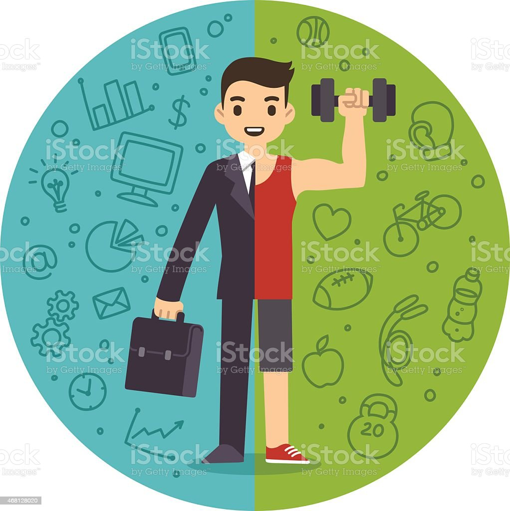 Demonstration of work and life balance vector art illustration
