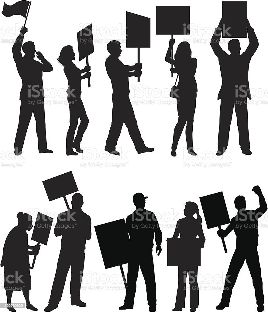 Demonstrators silhouettes vector art illustration