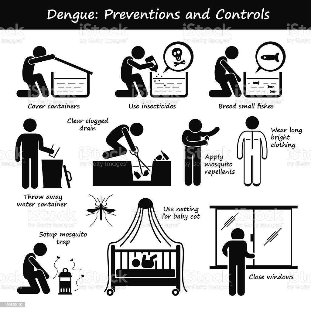 Dengue Fever Preventions and Controls Aedes Mosquito Breeding Pictogram vector art illustration