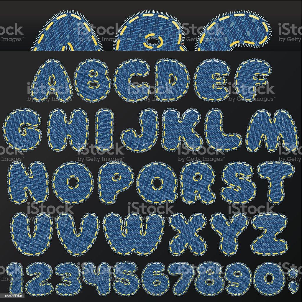 Denim Font royalty-free stock vector art