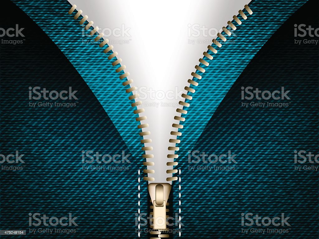 Denim jeans open zipper vector part of clothes vector art illustration