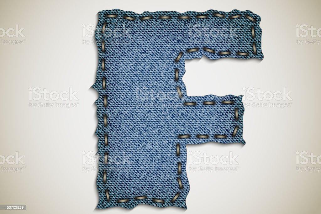 Denim letter F royalty-free stock vector art