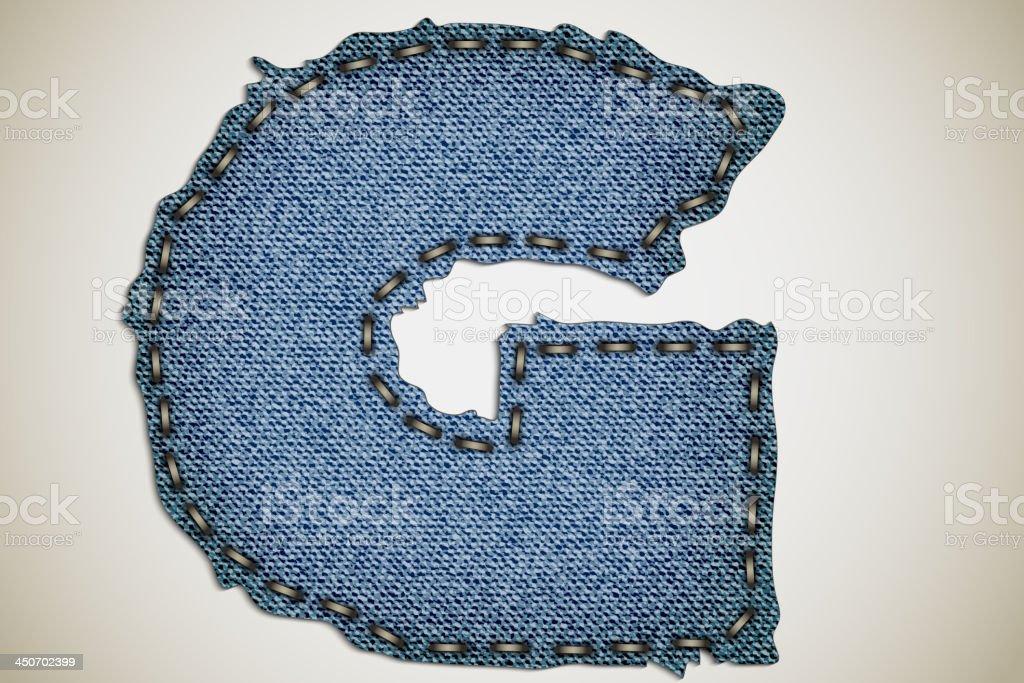 Denim letter G royalty-free stock vector art