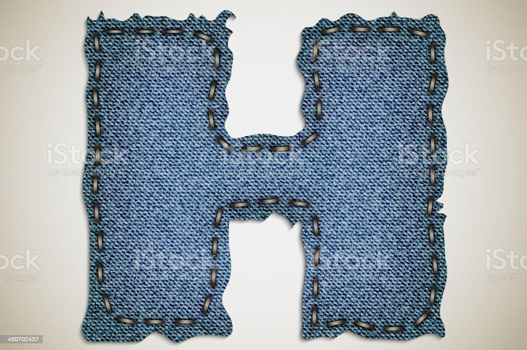 Denim letter H royalty-free stock vector art
