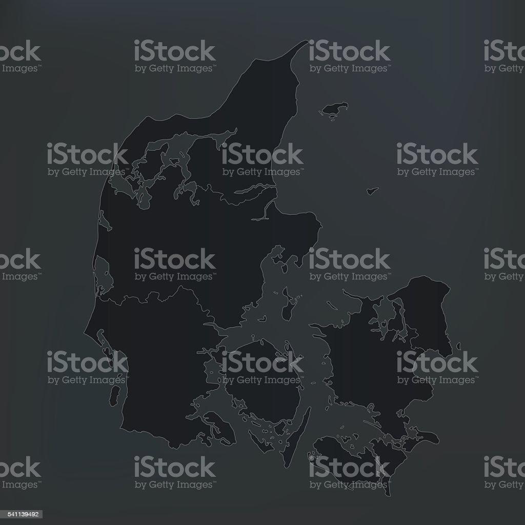 Denmark black dark map on dark background vector art illustration