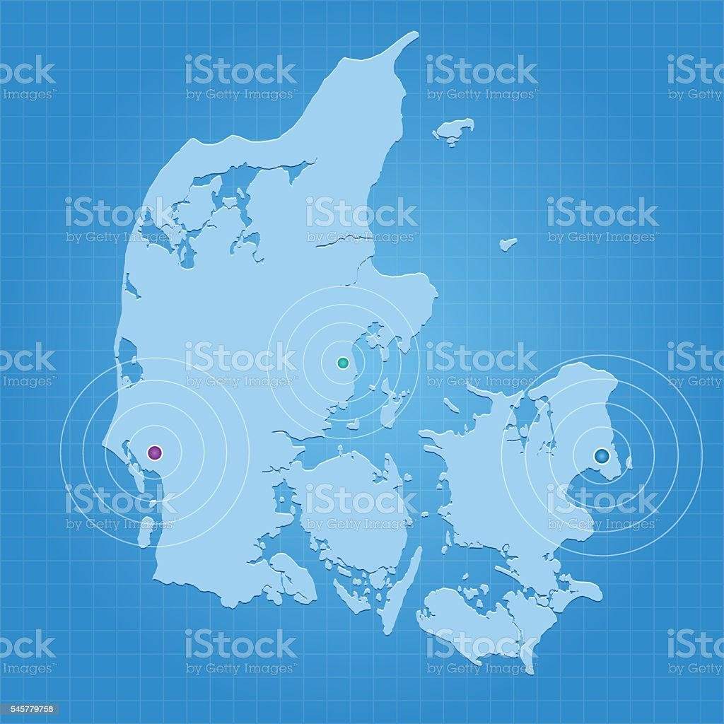Denmark blue map with city markers on gradient grid background vector art illustration