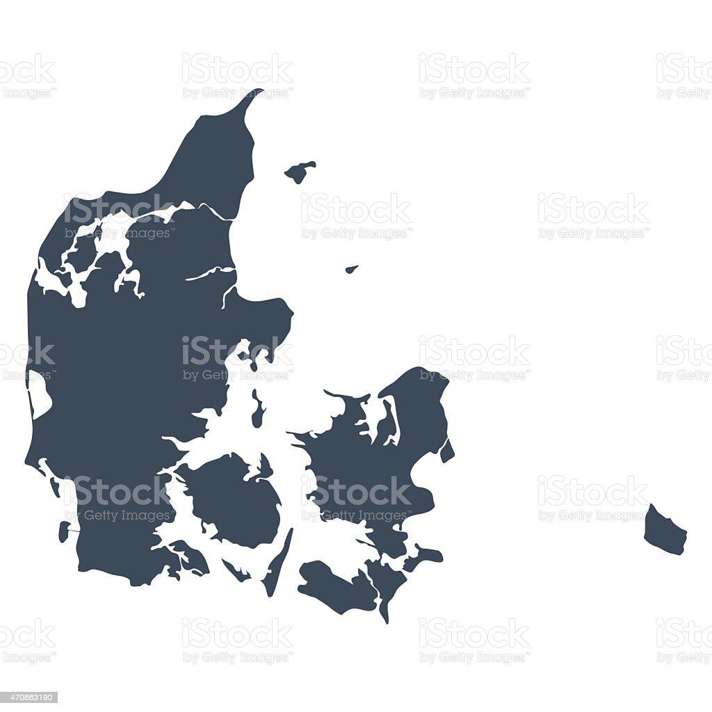 Denmark country map vector art illustration