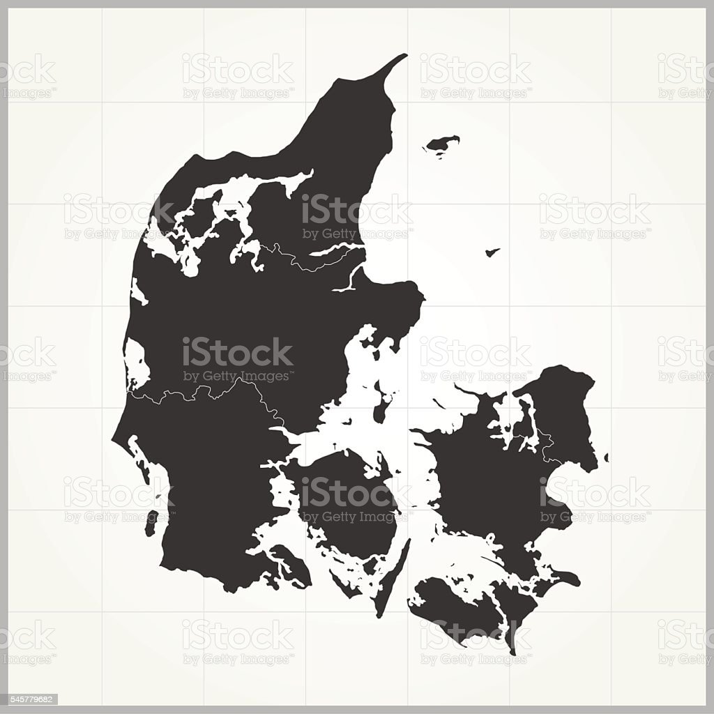 Denmark dark map on grey background with grid vector art illustration
