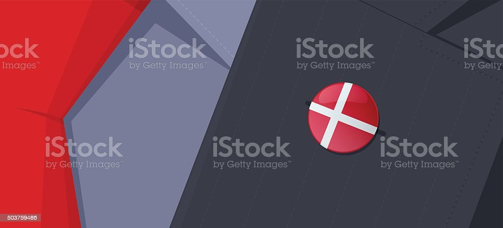 Denmark flag lapel pin on man's suit jacket lapel. vector art illustration