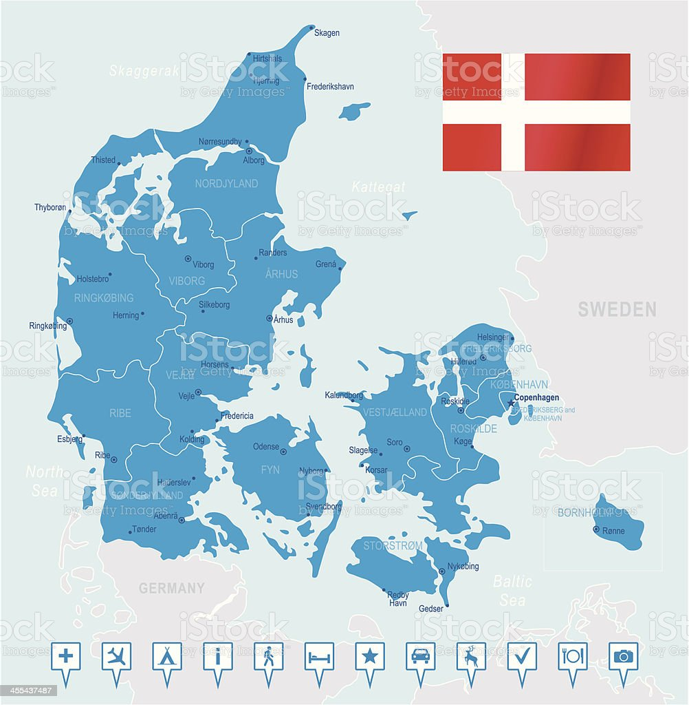 Denmark - highly detailed map royalty-free stock vector art