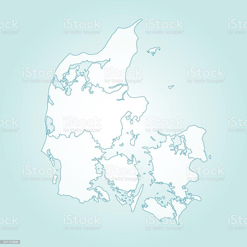 Denmark light map with borders on teal gradient background vector art illustration
