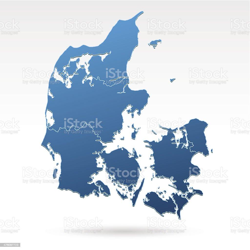 Denmark map blue vector art illustration