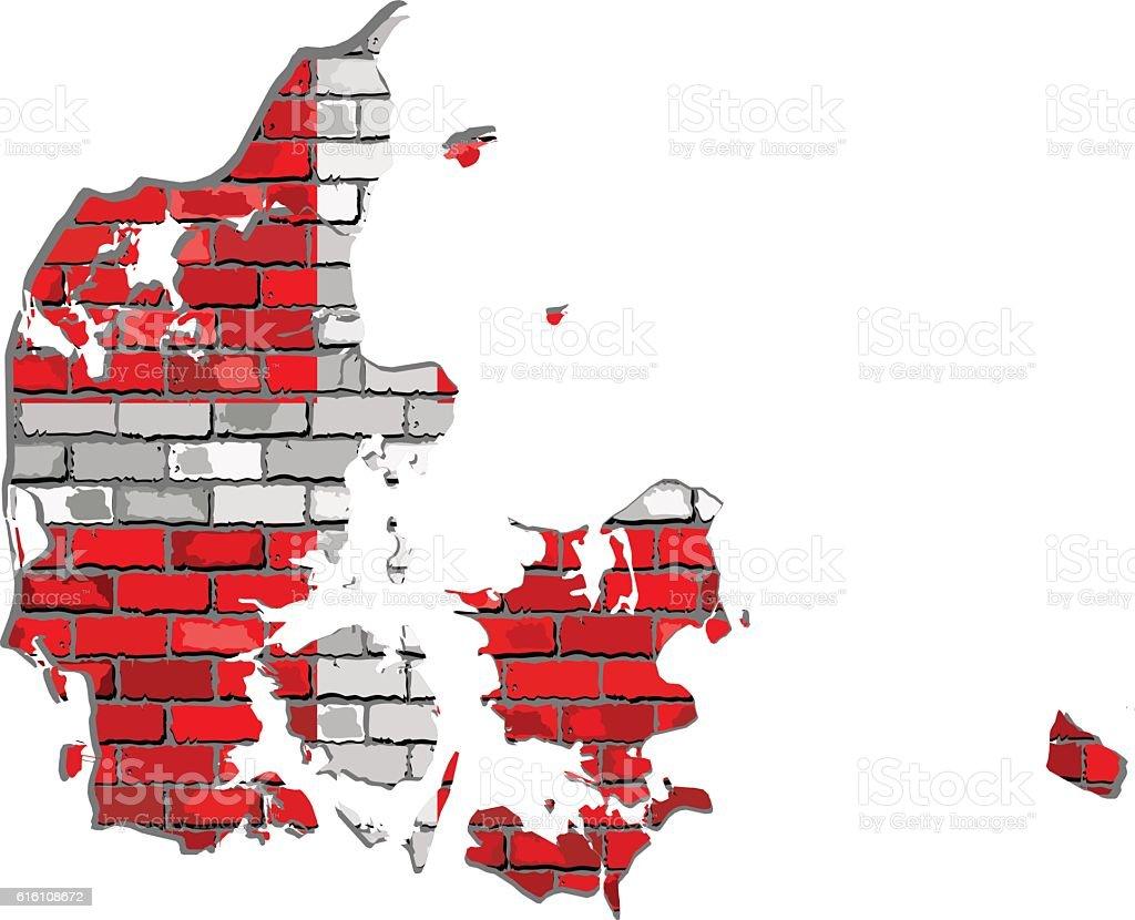 Denmark map on a brick wall vector art illustration