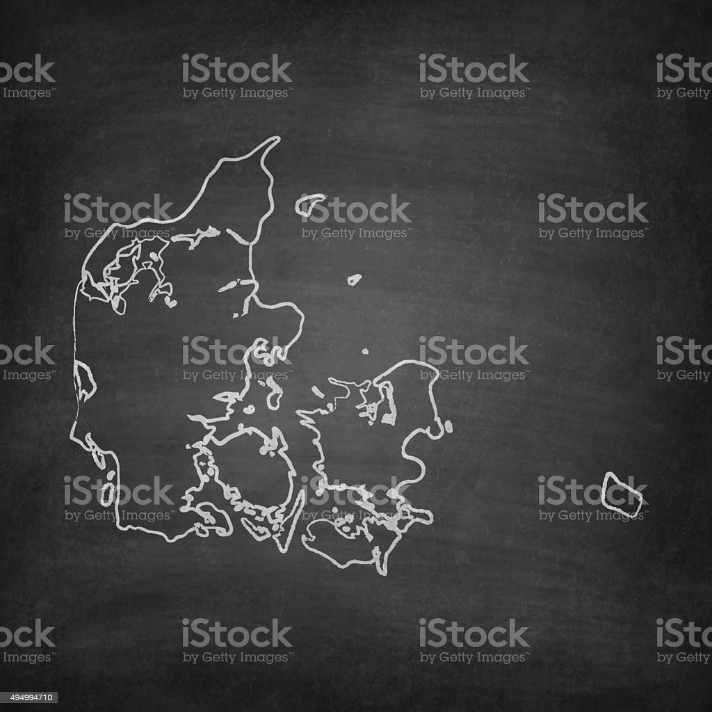 Denmark Map on Blackboard - Chalkboard vector art illustration