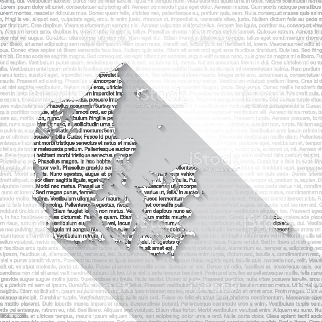 Denmark Map on Text Background - Long Shadow vector art illustration