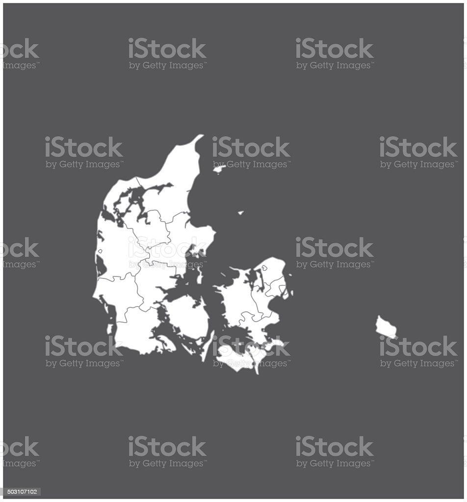 Denmark map outline vector in gray background vector art illustration