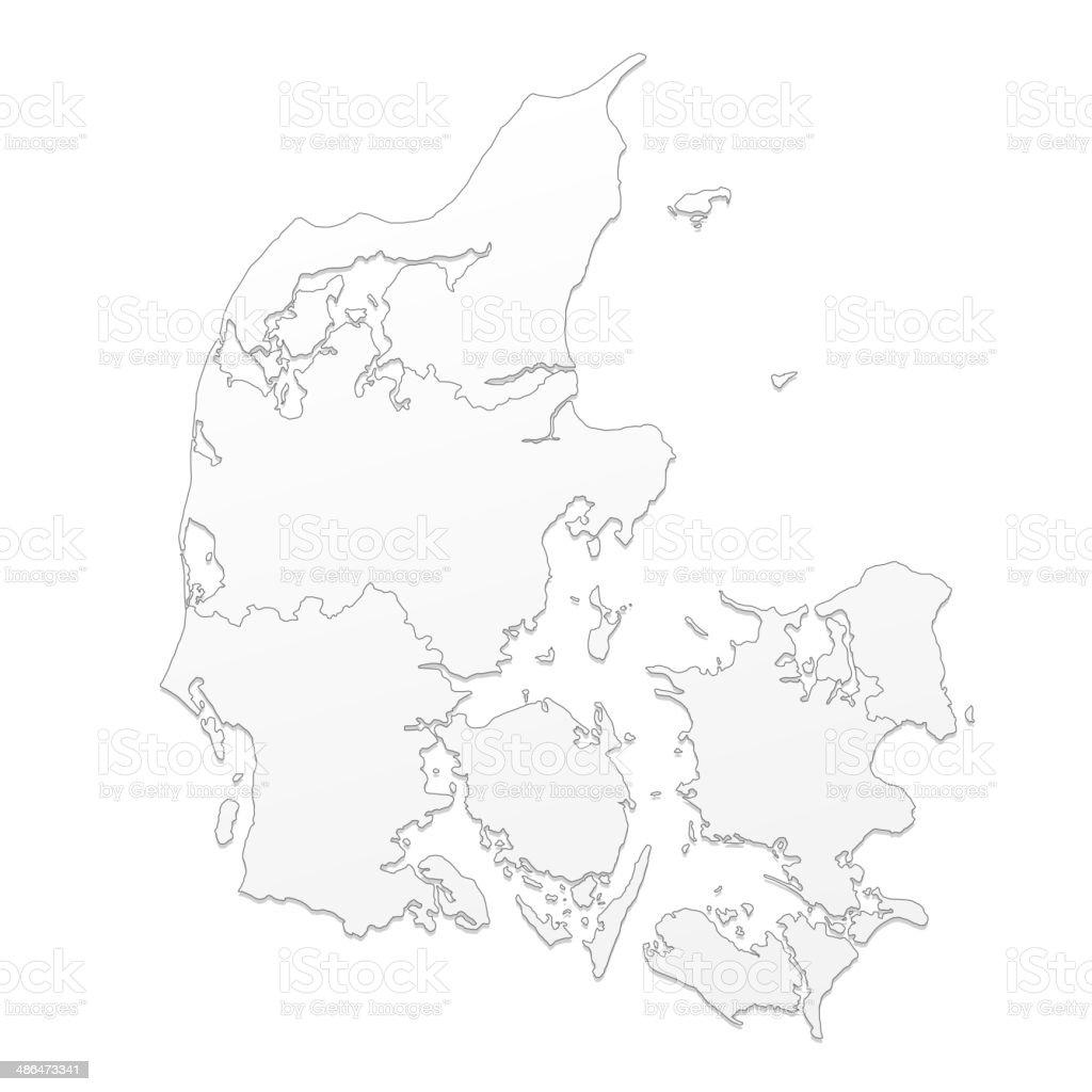 Denmark map white vector art illustration