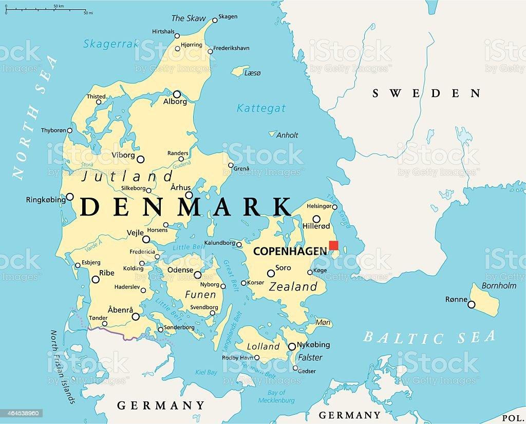 Denmark Political Map vector art illustration