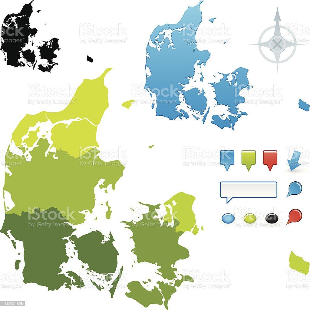 Denmark regional map vector art illustration