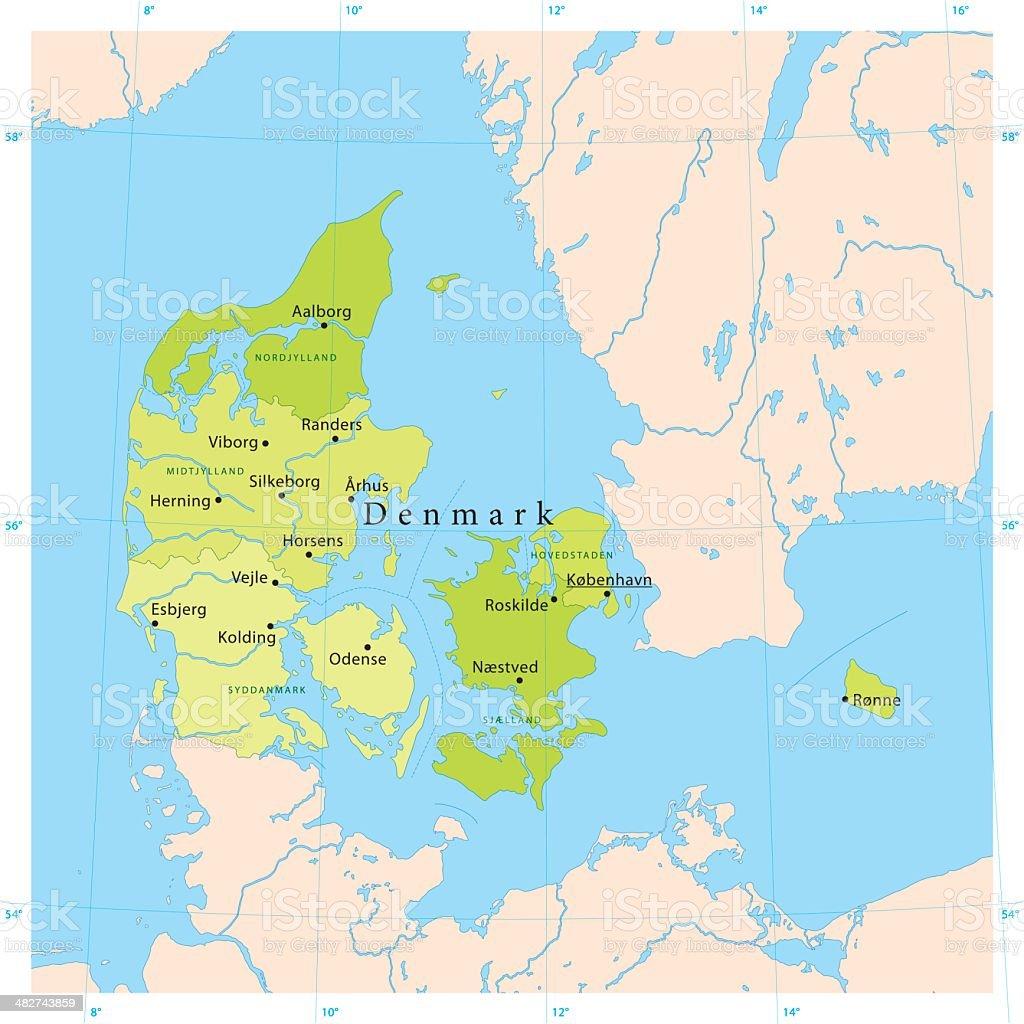 Denmark Vector Map vector art illustration
