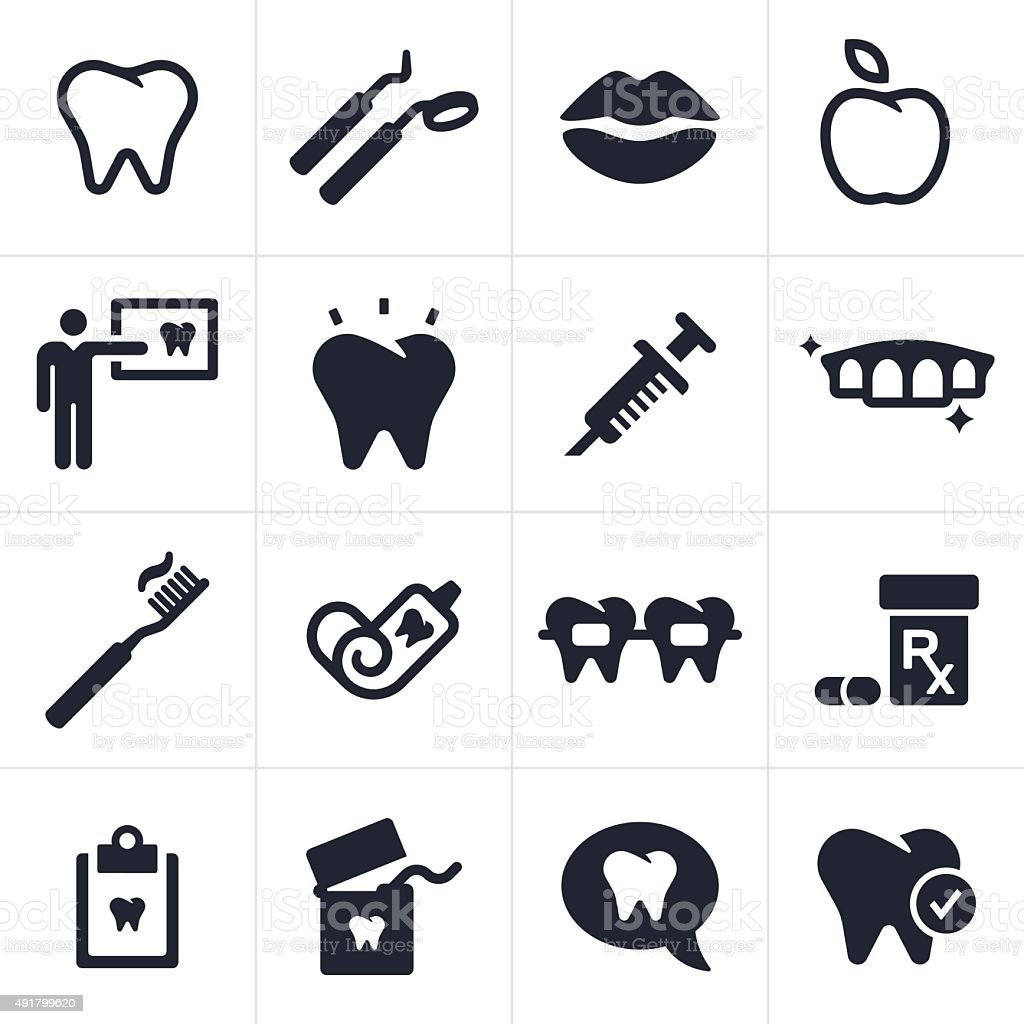 Dental and Tooth Care Icons and Symbols vector art illustration