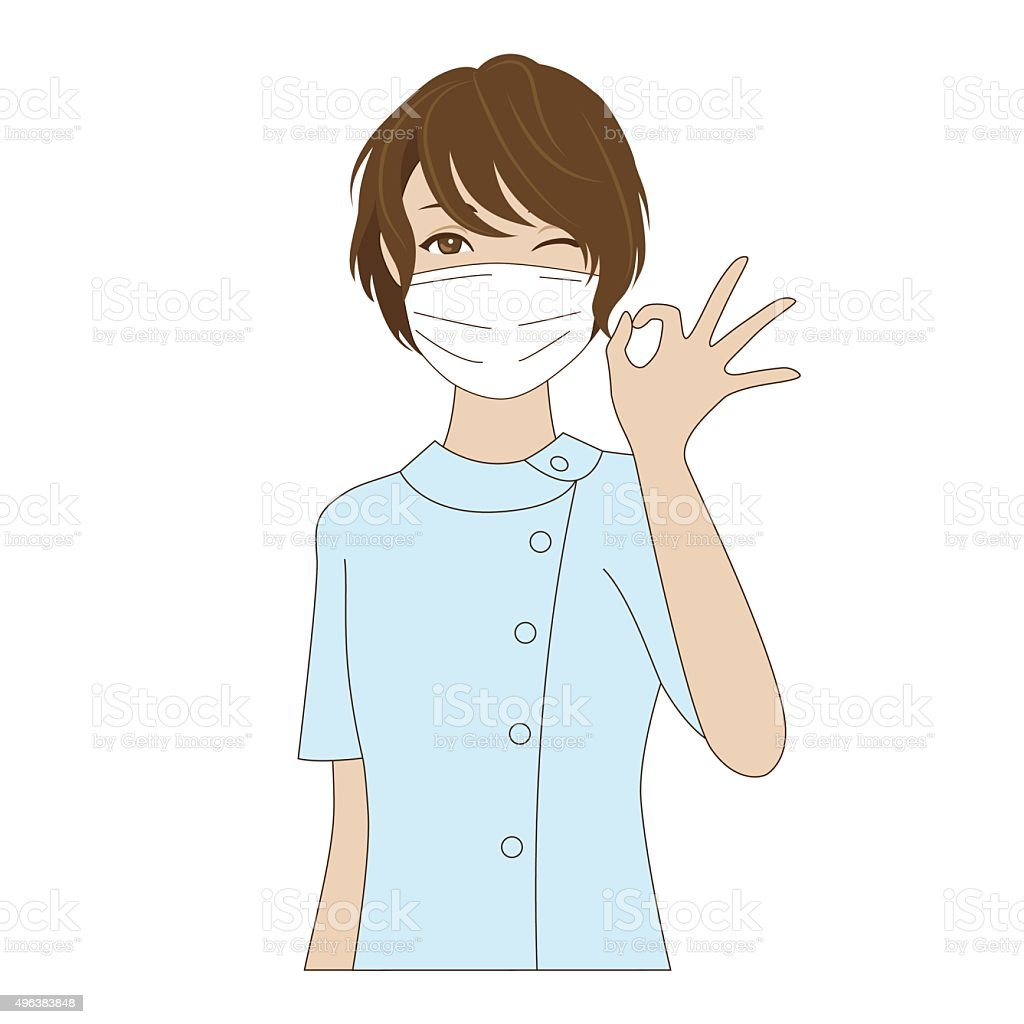 Dental assistant posing with OK sign vector art illustration