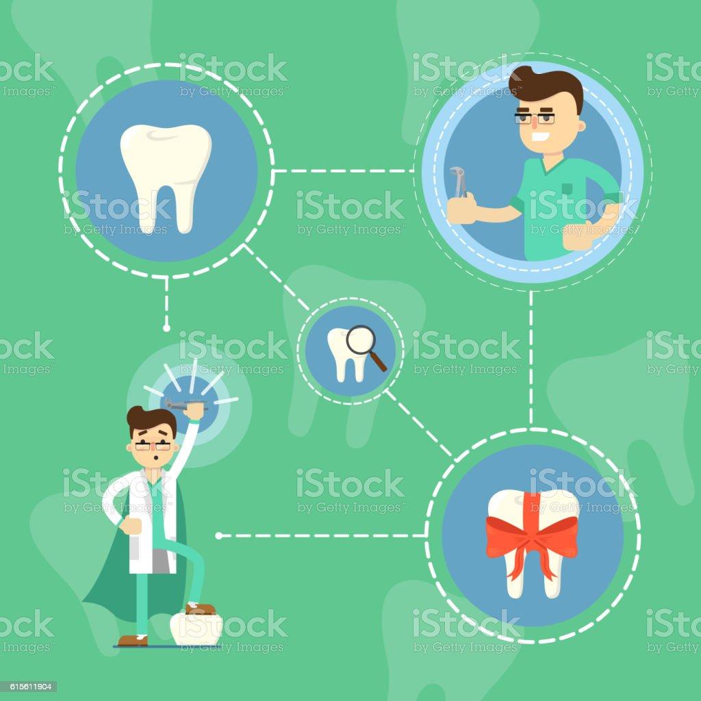 Dental care banner with male cartoon dentist vector art illustration
