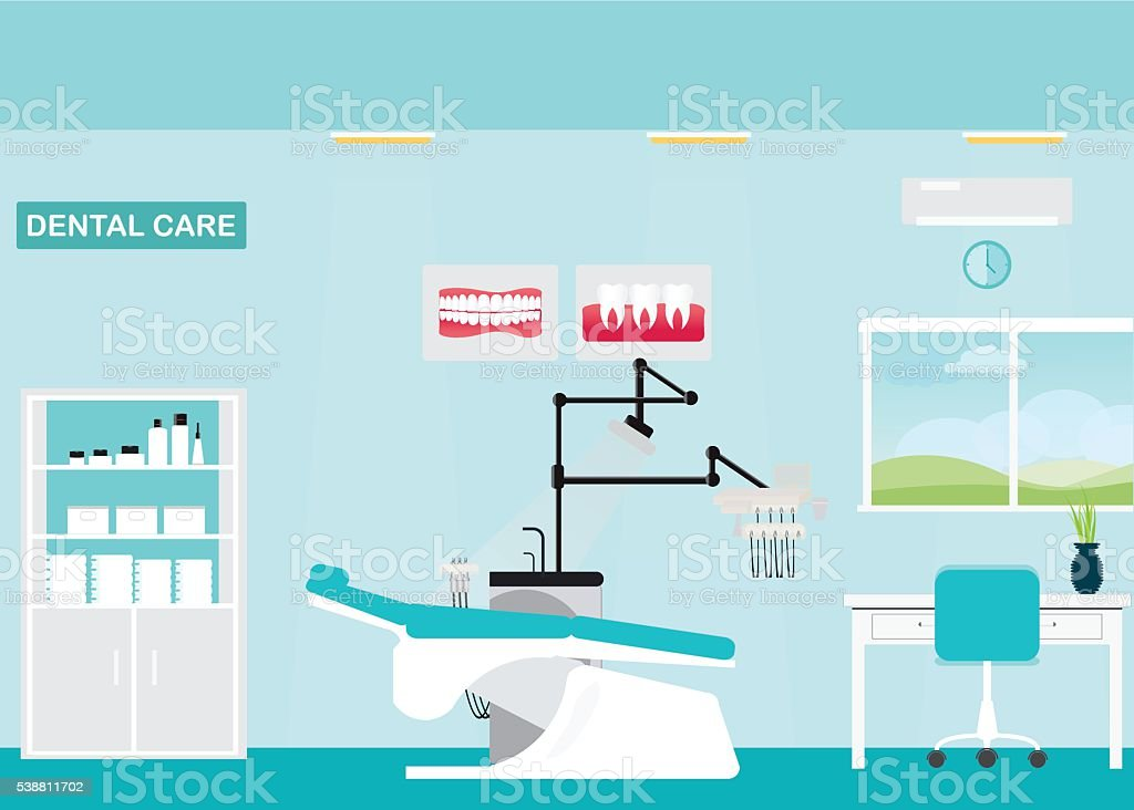 Dental care clinic or dentist office interior with medical dental arm-chair. vector art illustration