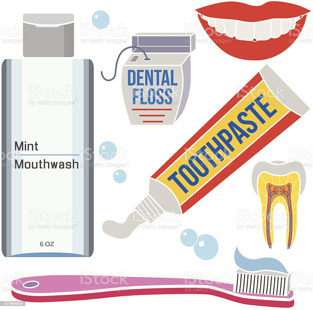 dental care grooming products vector art illustration
