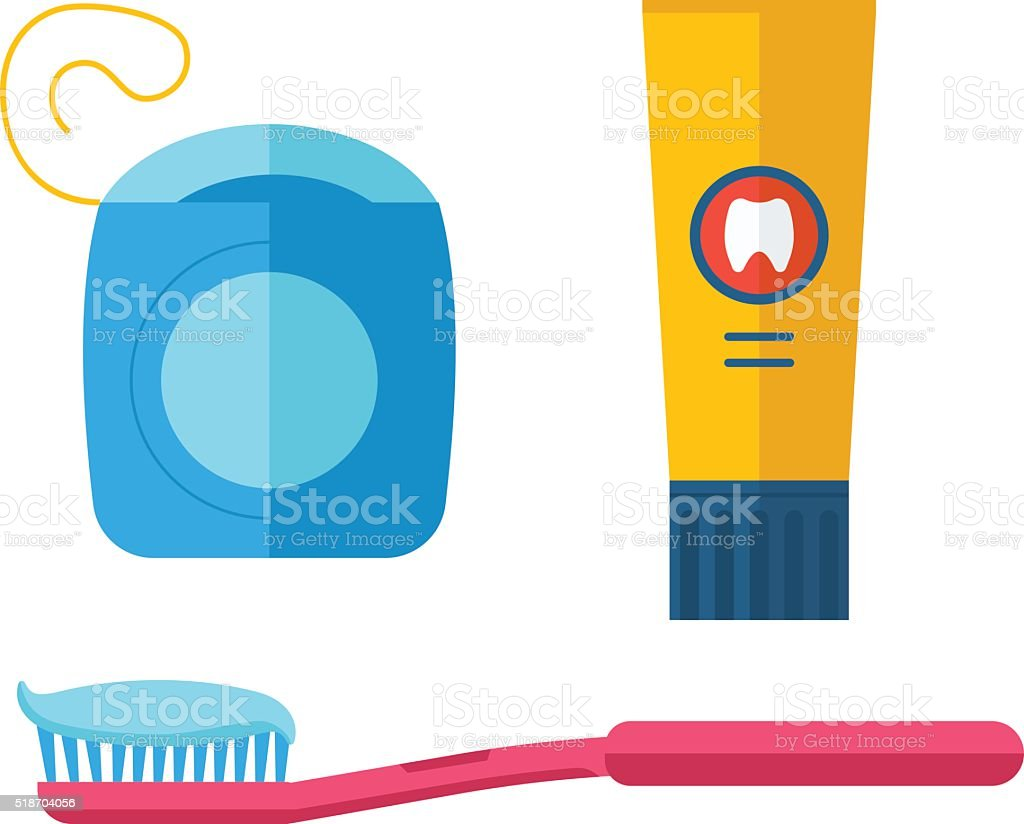 Dental care symbols in the shape of heart vector art illustration