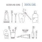 Dental care - vector line icons