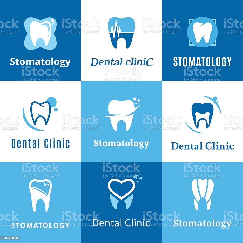 Dental Clinic Labels, Icons and Design Elements vector art illustration