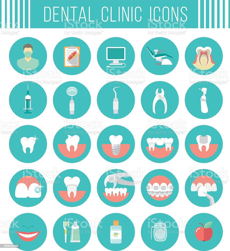 Dental clinic services flat icons vector art illustration