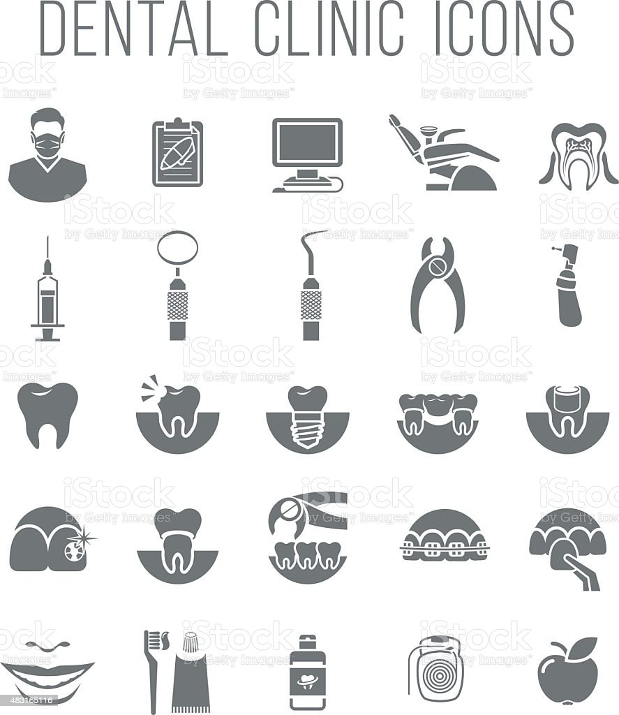 Dental clinic services flat silhouettes icons vector art illustration