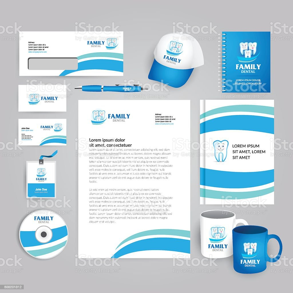 Dental company identity template. Corporate style for brand book. vector art illustration