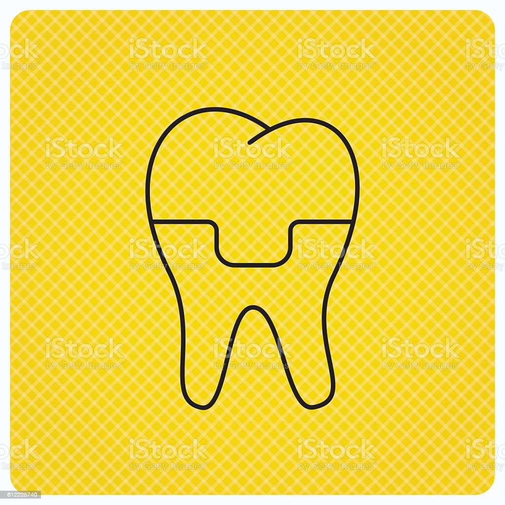 Dental crown icon. Tooth prosthesis sign. vector art illustration